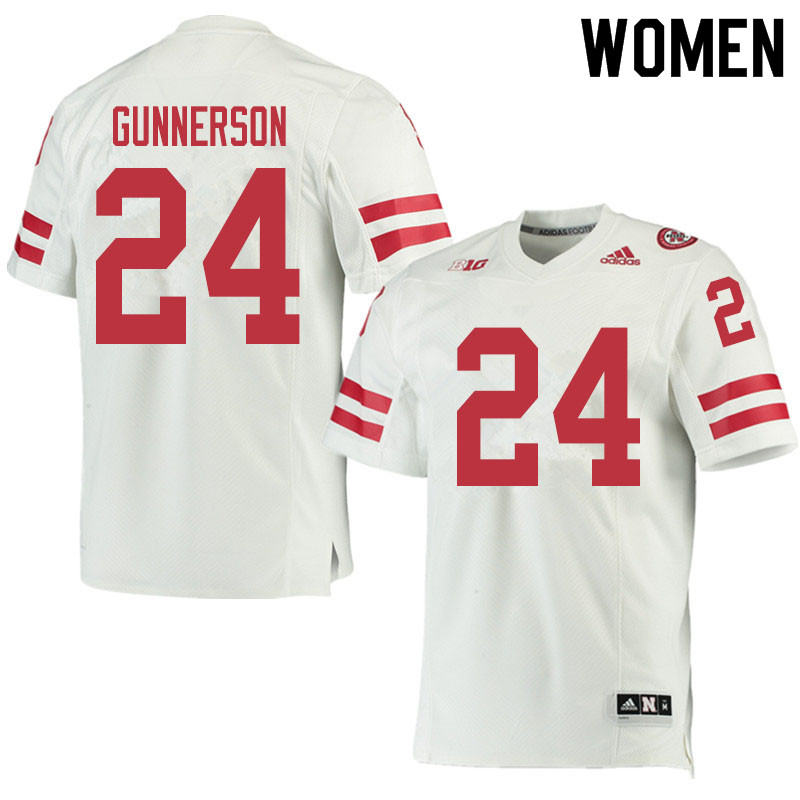 Women #24 Blaise Gunnerson Nebraska Cornhuskers College Football Jerseys Sale-White